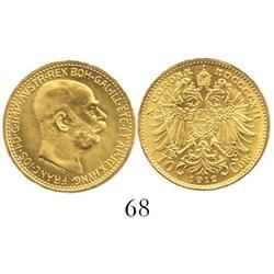 Austria, restrike 10 coronas, 1912, Mint State.