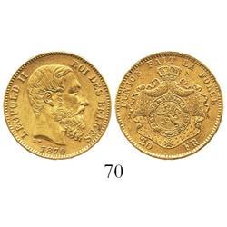 Belgium, 20 francs, Leopold II, 1870.