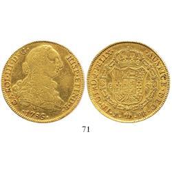 Potosi, Bolivia, bust 8 escudos, Charles III, 1786/5PR.