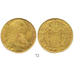 Potosi, Bolivia, bust 8 escudos, Charles IV transitional (bust of Charles III, ordinal IV), 1790/89P