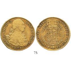 Potosi, Bolivia, bust 8 escudos, Charles IV, 1801PP.
