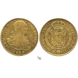 Potosi, Bolivia, bust 8 escudos, Charles IV, 1807PJ.