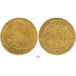 Potosi, Bolivia, bust 8 escudos, Charles IV, 1808PJ.