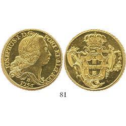 Brazil (Bahia mint), 6400 reis, Joseph I, 1756-B, choice, prooflike Mint State.