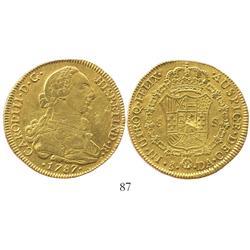 Santiago, Chile, bust 8 escudos, Charles III, 1787DA.
