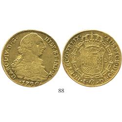 Santiago, Chile, bust 8 escudos, Charles IV transitional (bust of Charles III, ordinal IV), 1790DA.