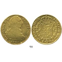Santiago, Chile, bust 8 escudos, Charles IV (bust of Charles III), 1794DA.