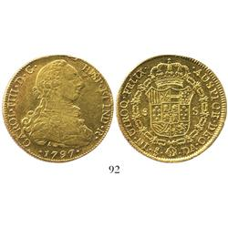 Santiago, Chile, bust 8 escudos, Charles IV (bust of Charles III), 1797DA.