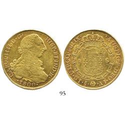 Santiago, Chile, bust 8 escudos, Charles IV (bust of Charles III), 1800AJ.