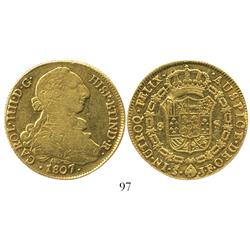 Santiago, Chile, bust 8 escudos, Charles IV (bust of Charles III), 1807JF.