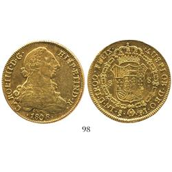 Santiago, Chile, bust 8 escudos, Charles IV (bust of Charles III), 1808FJ.
