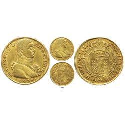 Santiago, Chile, bust 8 escudos, Ferdinand VII ( admiral's bust ), 1808FJ.