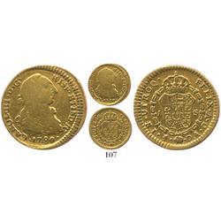 Santiago, Chile, bust 1 escudo, Charles III, 1780DA.