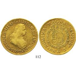 Popayan, Colombia, bust 8 escudos, Charles III (bust of Ferdinand VI), 1762J.