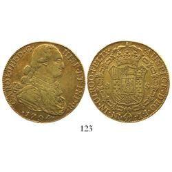 Bogota, Colombia, bust 8 escudos, Charles IV, 1794JJ.