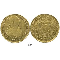 Popayan, Colombia, bust 8 escudos, Charles IV, 1796JF.