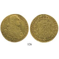 Bogota, Colombia, bust 8 escudos, Charles IV, 1798JJ.