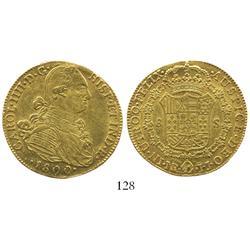 Bogota, Colombia, bust 8 escudos, Charles IV, 1800JJ.