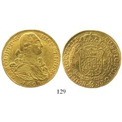 Bogota, Colombia, bust 8 escudos, Charles IV, 1801JJ.