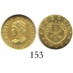 Bogota, Colombia, 1 peso, 1825JF, encapsulated NGC MS-62.