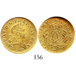 France (Nantes mint), louis d'or, 1724-T, encapsulated NGC MS-61, from the Chameau (1725).