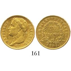 France (Paris mint), 20 francs, Napoleon, 1809-A.