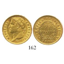 France (Paris mint), 20 francs, Napoleon, 1810-A.
