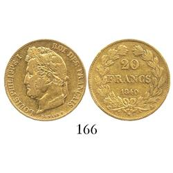 France (Paris mint), 20 francs, Louis Philip I, 1840-A.