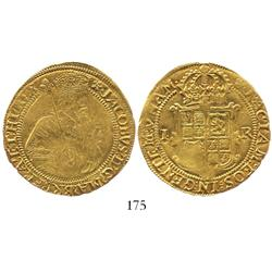 London, England, unite, James I (5th bust), mintmark cinquefoil (1613-15).