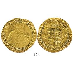 London, England, unite, James I (5th bust), mintmark tun (1615-16).