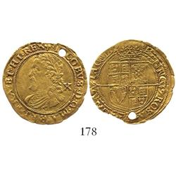 London, England, half laurel (10 shillings), James I (4th head), mintmark trefoil (1624).