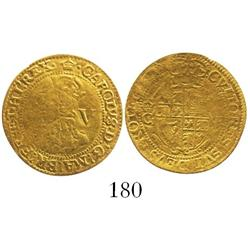 London, England, crown (5 shillings), Charles I (Group D, 4th bust), mintmark  crown (1635-6).