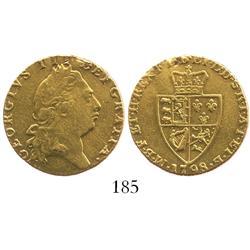 "London, England, ""spade"" guinea, George III, 1798."