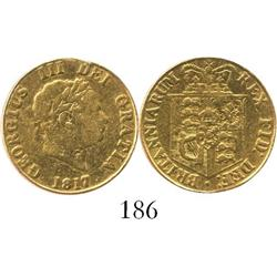 London, England, half sovereign George III, 1817.