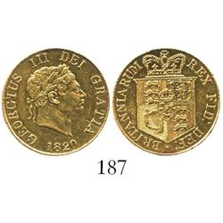 London, England, half sovereign George III, 1820.