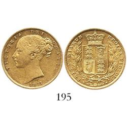 London, England, sovereign, Victoria (young head), 1861.
