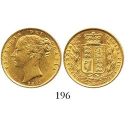 London, England, sovereign, Victoria (young head), 1865, die 12.