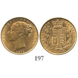 London, England, sovereign, Victoria (young  head), 1872, no die number, from the Douro (1882).