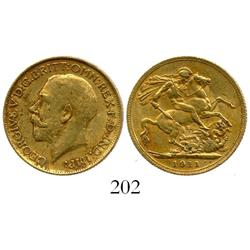 London, England, sovereign, George V, 1911, from the Egypt (1922).