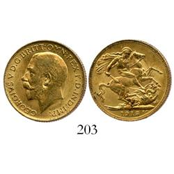 London, England, sovereign, George V, 1913, from the Egypt (1922).