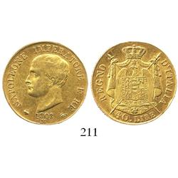 Milan, Italy (Kingdom of Napoleon), 40 lire, 1808-M, edge lettering raised.
