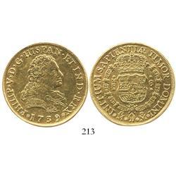 Mexico City, Mexico, bust 8 escudos, Philip V, 1739MF, scarce.