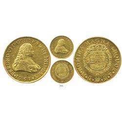Mexico City, Mexico, bust 8 escudos, Ferdinand VI, 1751MF, scarce.