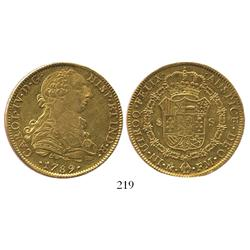 Mexico City, Mexico, bust 8 escudos, Charles IV transitional (bust of Charles III, ordinal IV), 1789