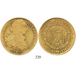 Mexico City, Mexico, bust 8 escudos, Charles IV transitional (bust of Charles III, ordinal IIII), 17