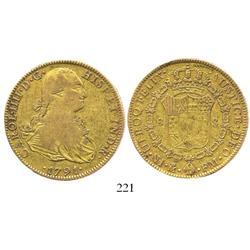 Mexico City, Mexico, bust 8 escudos, Charles IV, 1791FM.