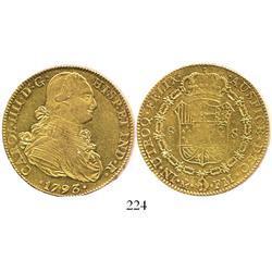 Mexico City, Mexico, bust 8 escudos, Charles IV, 1793FM.