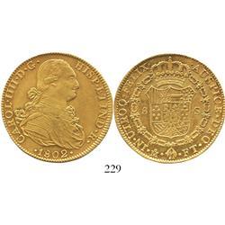 Mexico City, Mexico, bust 8 escudos, Charles IV, 1802FT.
