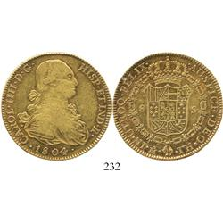 Mexico City, Mexico, bust 8 escudos, Charles IV, 1804TH.