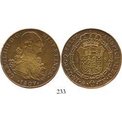 Mexico City, Mexico, bust 8 escudos, Charles IV, 1807TH.